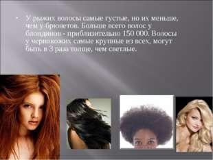 У рыжих волосы самые густые, но их меньше, чем у брюнетов. Больше всего волос