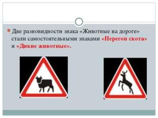 Две разновидности знака «Животные на дороге» стали самостоятельными знаками