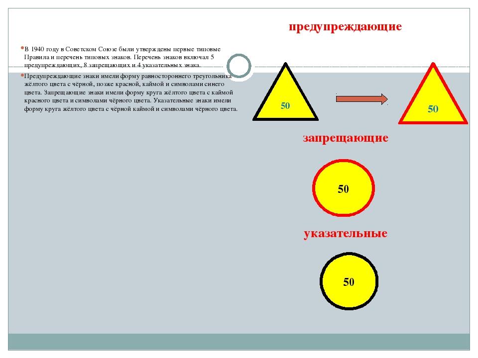 предупреждающие запрещающие указательные  В 1940 году в Советском Союзе были...