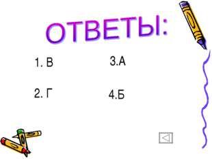 1. В 2. Г 3.А 4.Б