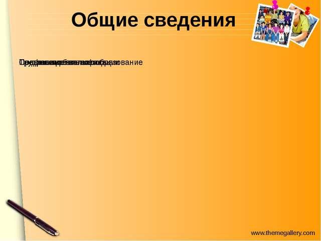 Общие сведения www.themegallery.com