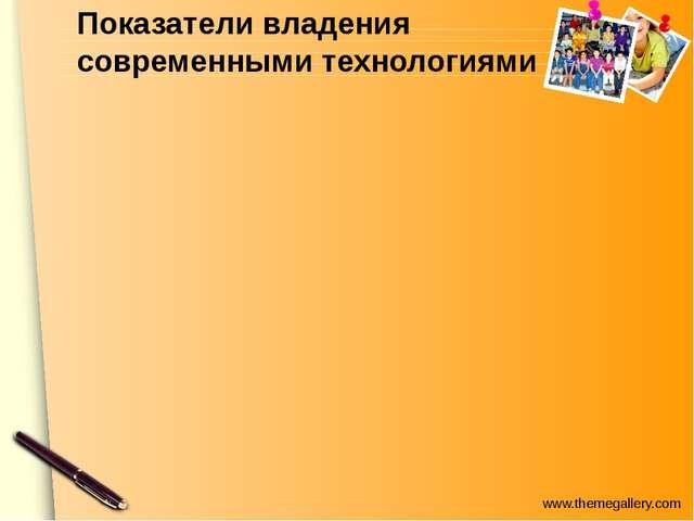Показатели владения современными технологиями www.themegallery.com