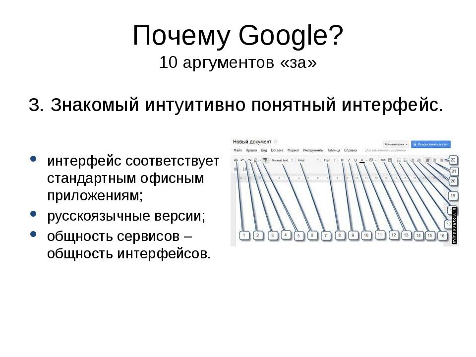 Почему Google? 10 аргументов «за» 3. Знакомый интуитивно понятный интерфейс....
