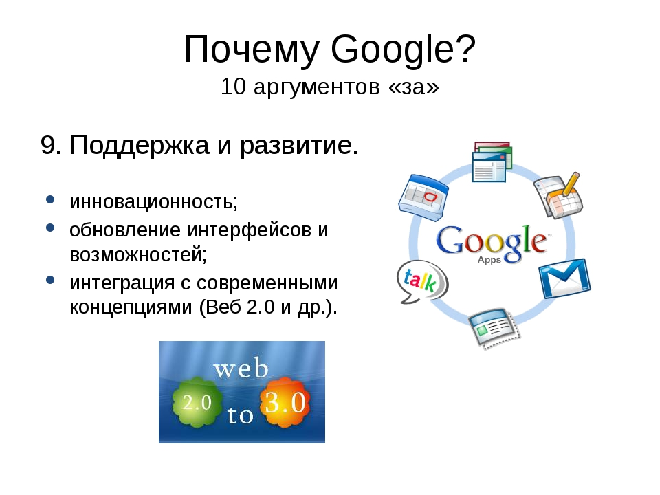 Почему Google? 10 аргументов «за» 9. Поддержка и развитие. инновационность; о...