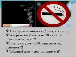1 сигарета – отнимает 15 минут жизни!!! содержит 6000 веществ, 30 из них – с