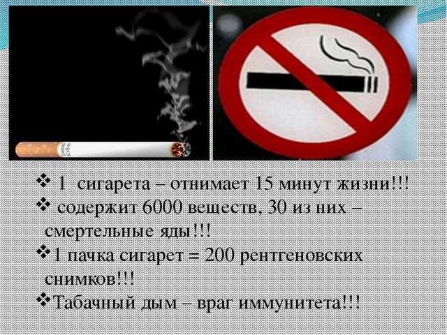 1 сигарета – отнимает 15 минут жизни!!! содержит 6000 веществ, 30 из них – с...