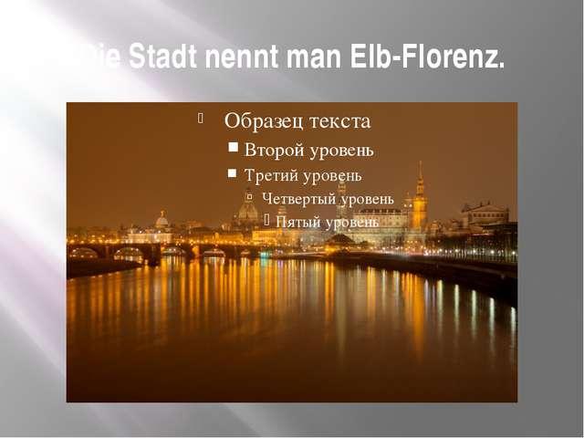 Die Stadt nennt man Elb-Florenz.