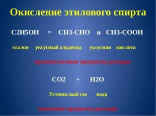 Окисление этилового спирта С2Н5ОН = СН3-СНО и СН3-СООН эталон уксусный альдег