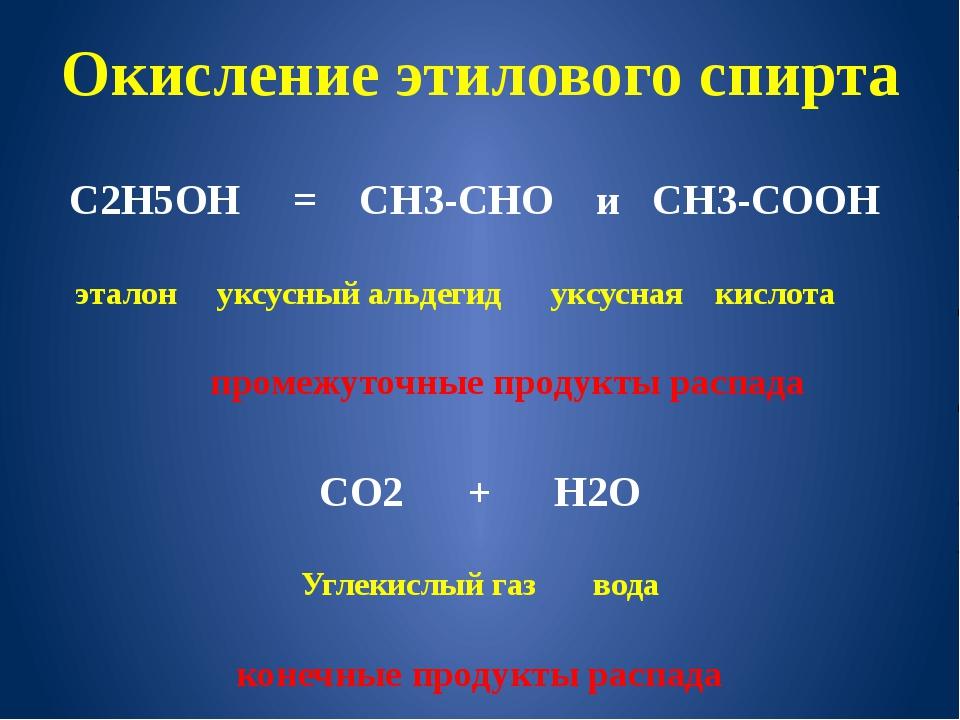 Окисление этилового спирта С2Н5ОН = СН3-СНО и СН3-СООН эталон уксусный альдег...