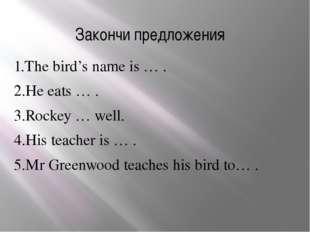 Закончи предложения 1.The bird's name is … . 2.He eats … . 3.Rockey … well. 4