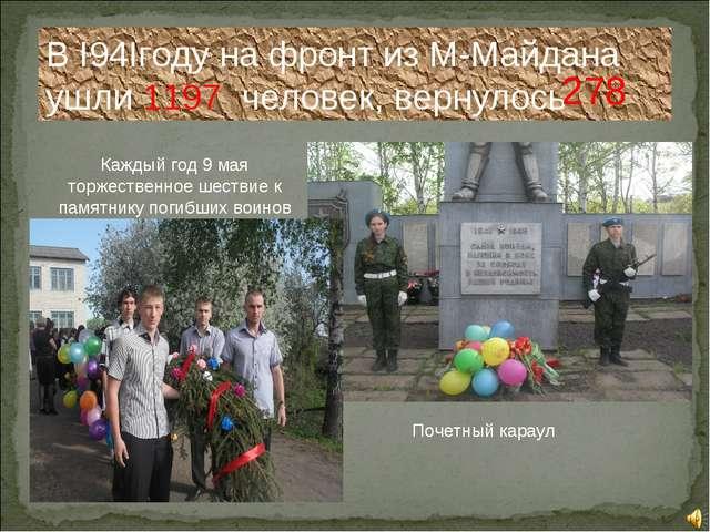 В I94Iгоду на фронт из М-Майдана ушли 1197 человек, вернулось 278 Каждый год...