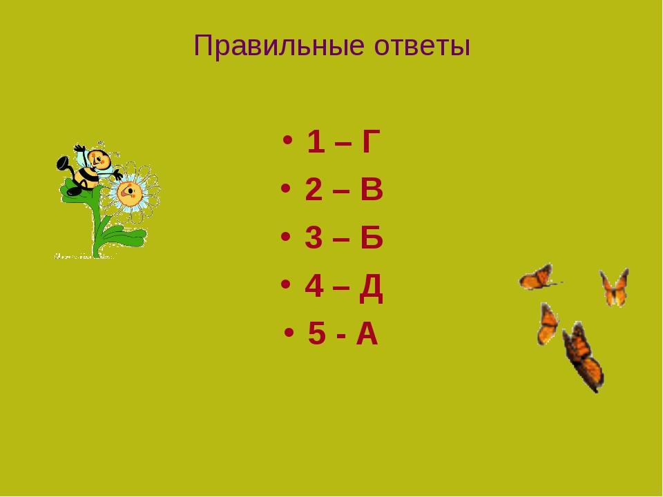 Правильные ответы 1 – Г 2 – В 3 – Б 4 – Д 5 - А