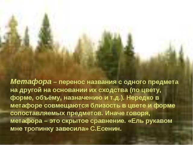 Метафора – перенос названия с одного предмета на другой на основании их сходс...