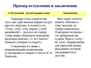 Пример вступления и заключения. 4. Вступление (иллюстрация темы)Заключение О