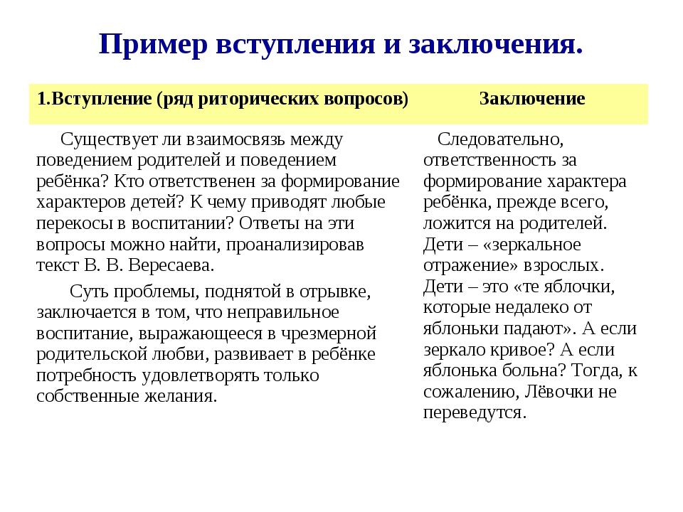 Пример вступления и заключения. 1.Вступление (ряд риторических вопросов)Закл...