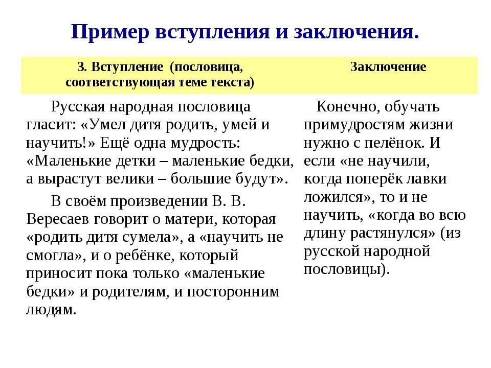 Пример вступления и заключения. 3. Вступление (пословица, соответствующая тем...