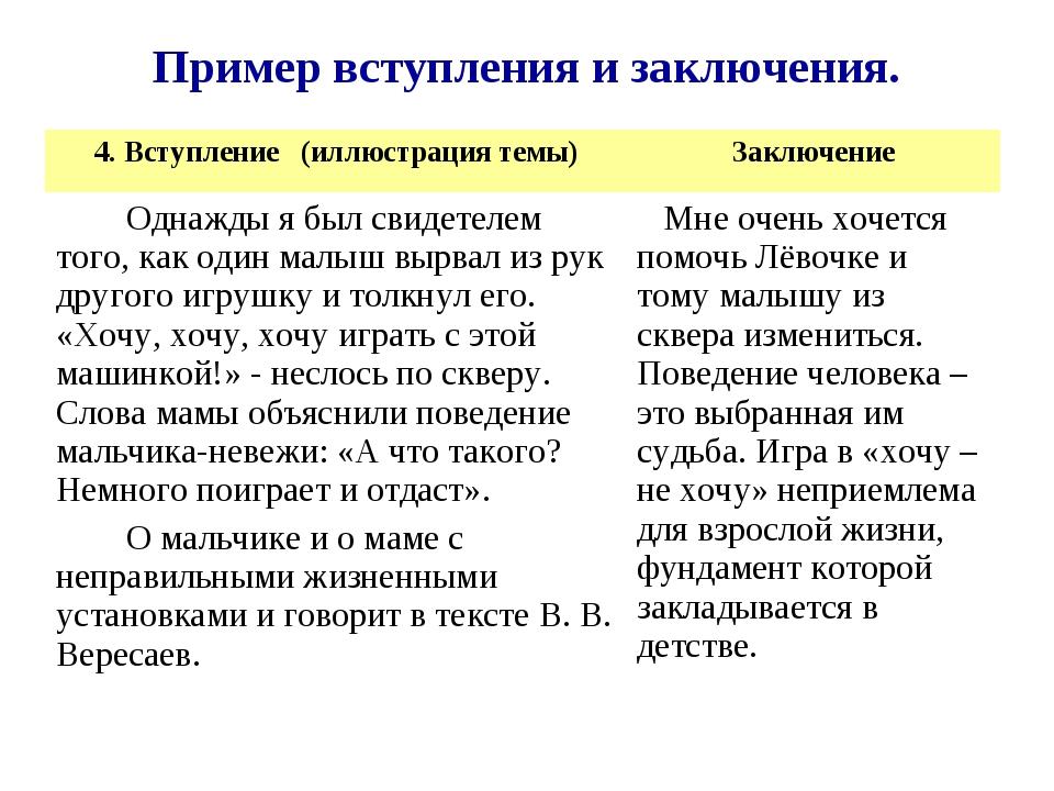 Пример вступления и заключения. 4. Вступление (иллюстрация темы)Заключение О...