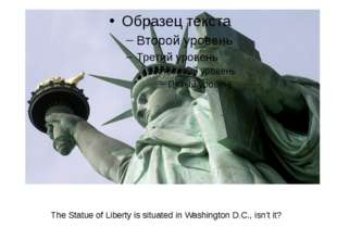 The Statue of Liberty is situated in Washington D.C., isn't it?