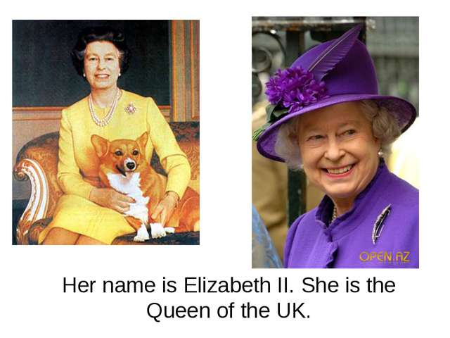 Her name is Elizabeth II. She is the Queen of the UK.