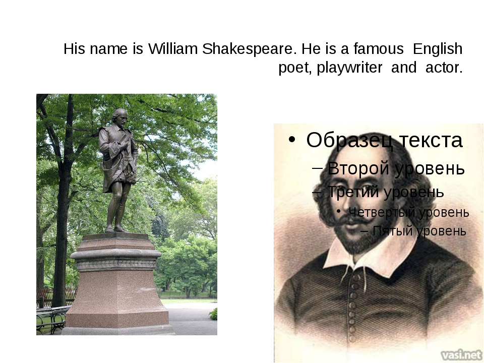 His name is William Shakespeare. He is a famous English poet, playwriter and...