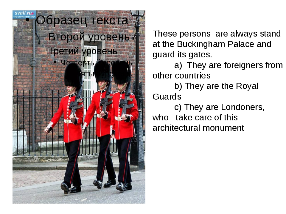 These persons are always stand at the Buckingham Palace and guard its gates....