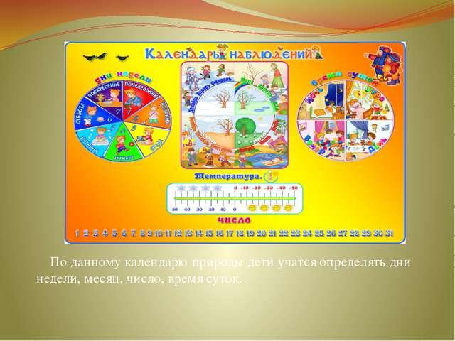По данному календарю природы дети учатся определять дни недели, месяц, число...