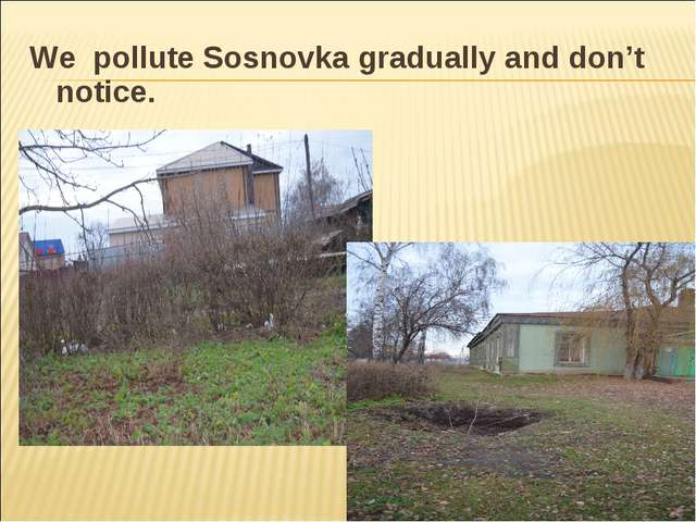 We pollute Sosnovka gradually and don't notice.
