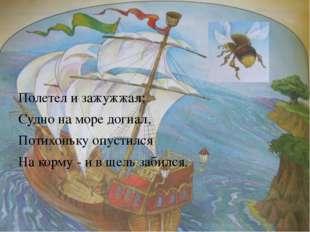 Полетел и зажужжал; Судно на море догнал, Потихоньку опустился На корму - и
