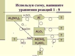 Используя схему, напишите уравнения реакций 1 - 9  H2SO4 Cl2 1 3  O2 2 NaOH