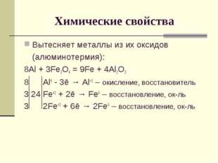 Химические свойства Вытесняет металлы из их оксидов (алюминотермия): 8Al + 3