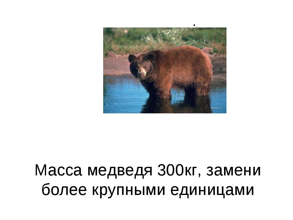 Масса медведя 300кг, замени более крупными единицами .