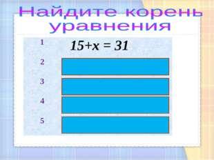 1 15+х = 31 2 40 – х = 18 3 х + 50 = 83 4 х : 98 = 0 5 125 : х = 25