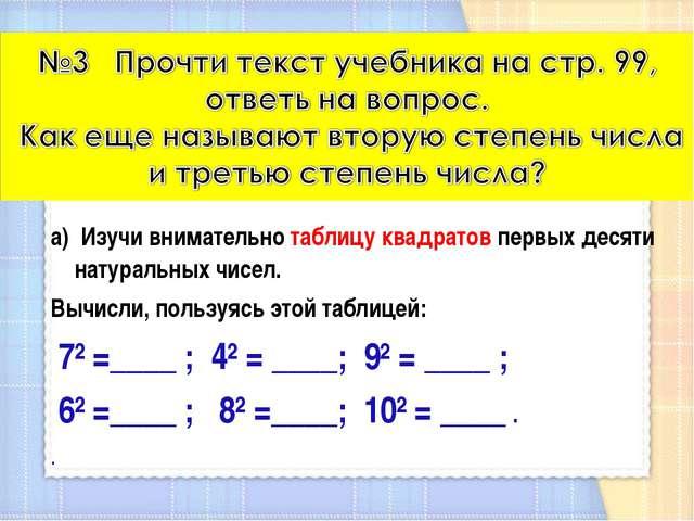 а) Изучи внимательно таблицу квадратов первых десяти натуральных чисел. Вычис...