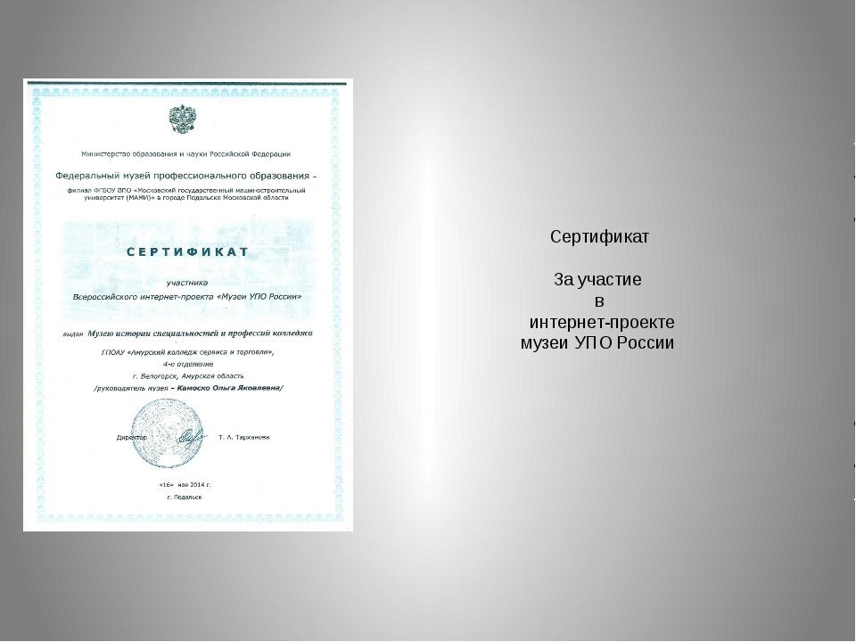 Сертификат За участие в интернет-проекте музеи УПО России