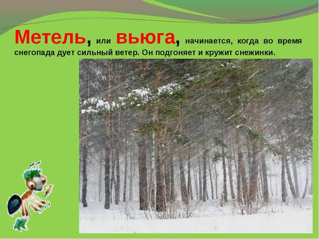 Метель, или вьюга, начинается, когда во время снегопада дует сильный ветер. О...