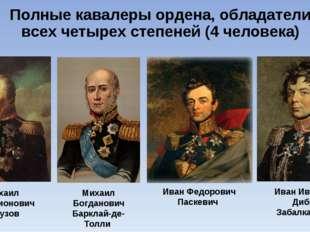 Полные кавалеры ордена, обладатели всех четырех степеней (4 человека) Михаил