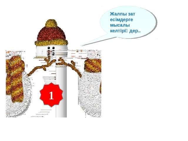 1 Жалпы зат есімдерге мысалы келтіріңдер..