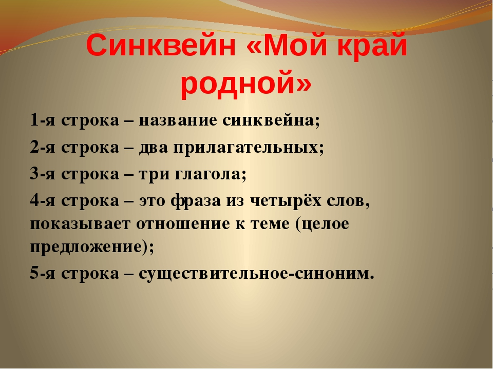 1-я строка – название синквейна; 2-я строка – два прилагательных; 3-я строка...