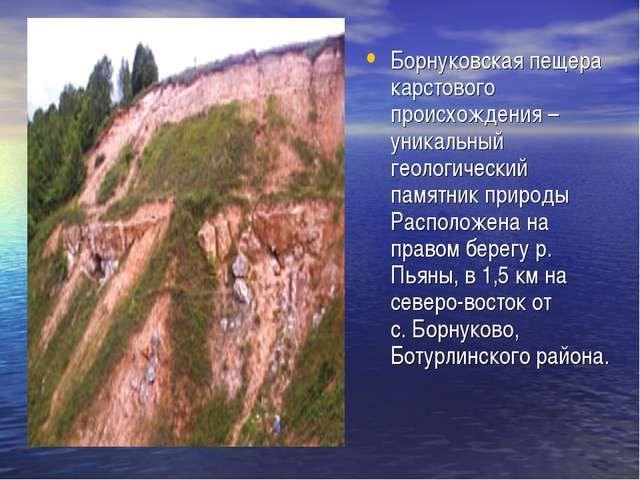 Борнуковская пещера карстового происхождения – уникальный геологический памят...