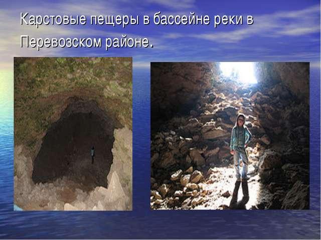 Карстовые пещеры в бассейне реки в Перевозском районе.