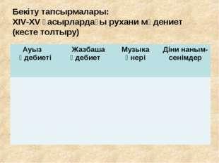 Бекіту тапсырмалары: ХІV-ХV ғасырлардағы рухани мәдениет (кесте толтыру)  Ау