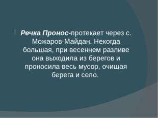 Речка Пронос-протекает через с. Можаров-Майдан. Некогда большая, при весенне