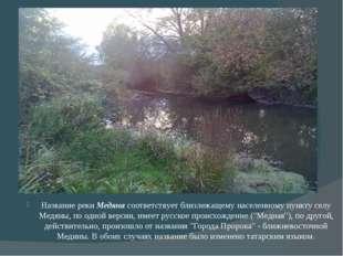 Название реки Медяна соответствует близлежащему населенному пункту селу Медя