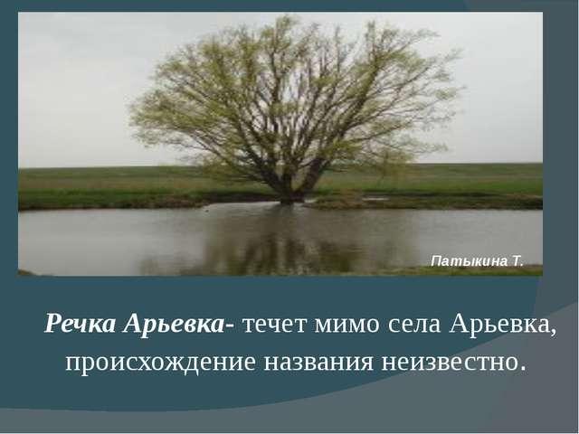 Речка Арьевка- течет мимо села Арьевка, происхождение названия неизвестно. П...