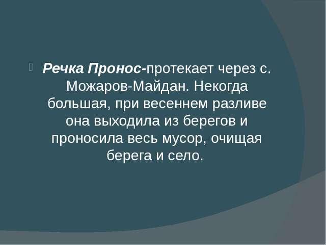 Речка Пронос-протекает через с. Можаров-Майдан. Некогда большая, при весенне...