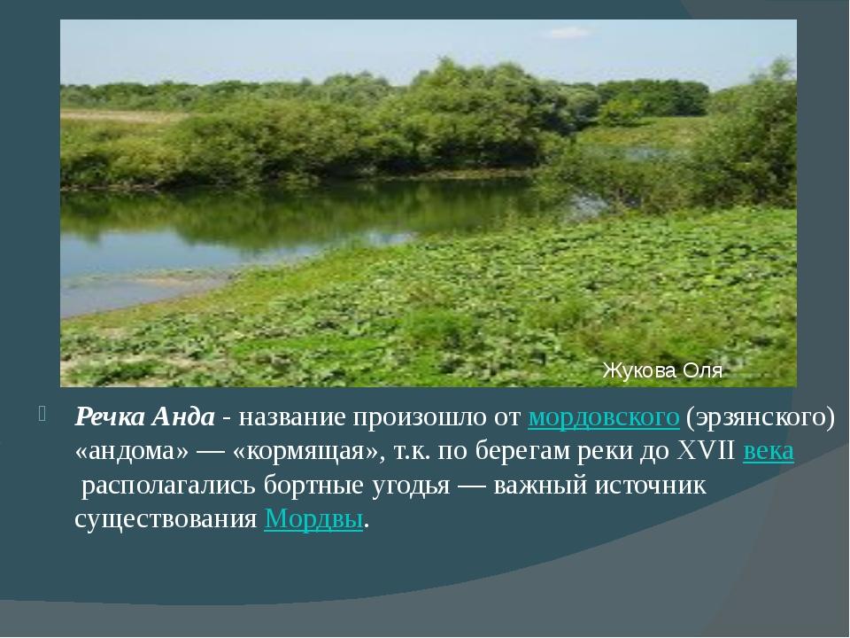 Речка Анда - название произошло отмордовского(эрзянского) «андома»— «корм...