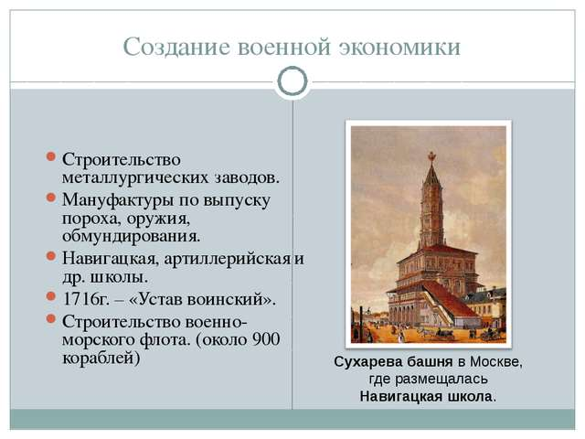 Создание военной экономики Строительство металлургических заводов. Мануфактур...