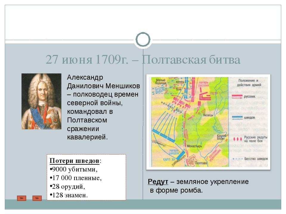 27 июня 1709г. – Полтавская битва Александр Данилович Меншиков – полководец в...