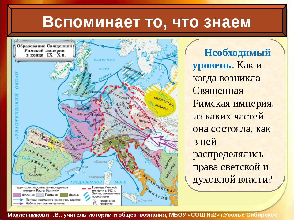 Вспоминает то, что знаем Масленникова Г.В., учитель истории и обществознания...