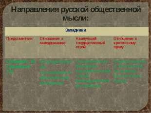 Направления русской общественной мысли: Западники Представители Отношение к с